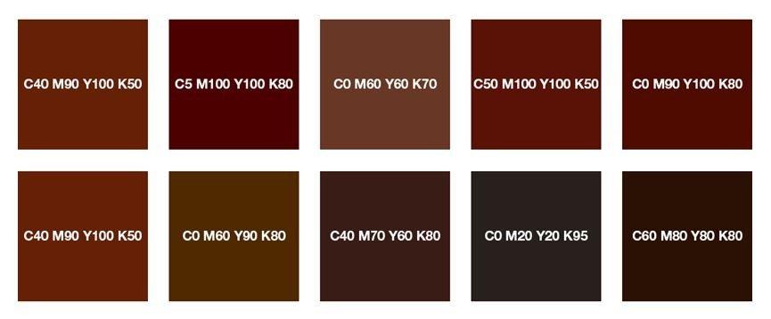 Красно-коричневый, каштановый, шоколадно-коричневый и коричневый