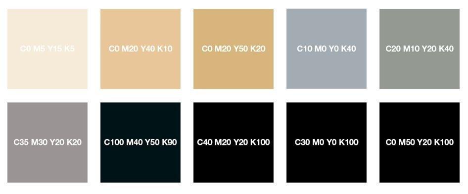Кремовый, бежевый, серебристо-серый, каменный серый и насыщенный черный