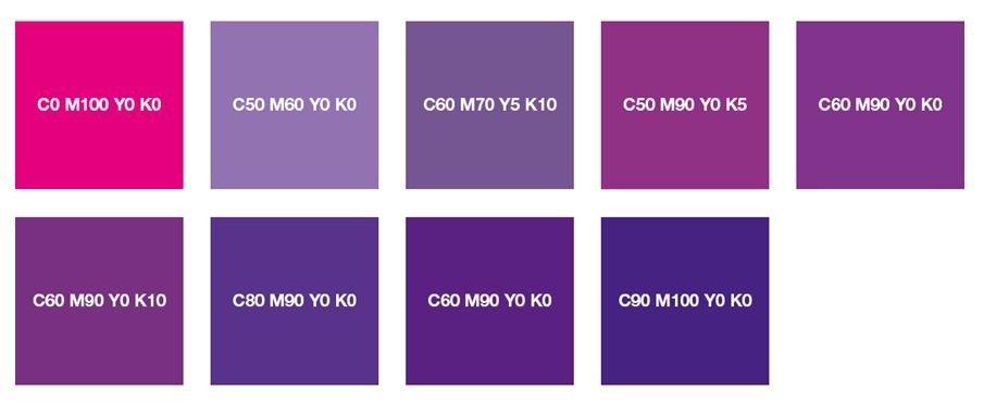 Пурпурный, фиолетовый и фиолетовый