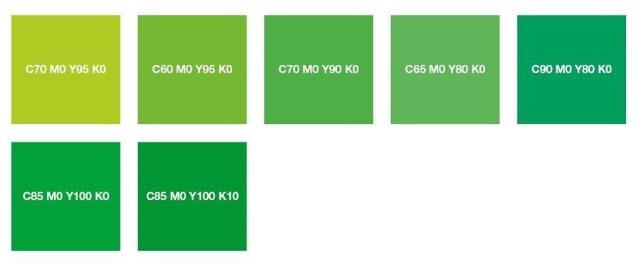 Ярко-зеленый, желто-зеленый и зеленый